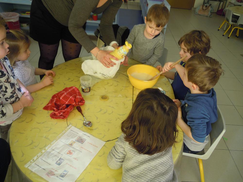 Après avoir étudié la recette des crêpes, nous avons mesuré la farine, le lait, les oeufs, l'huile, le sucre. Nous avons tourné, tourné pour éviter les grumeaux.