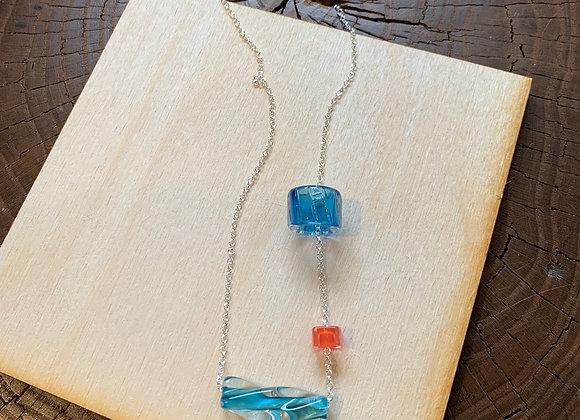 Teal & Orange Glass Necklace