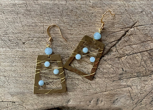 Brass + Blue Agate Earrings