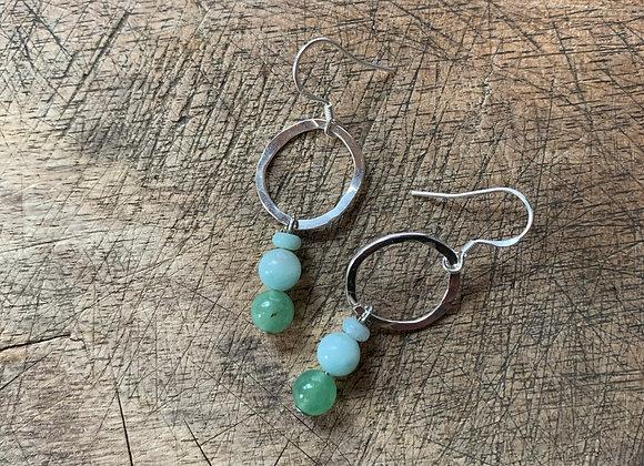 Silver + Jade + Amazonite Earrings