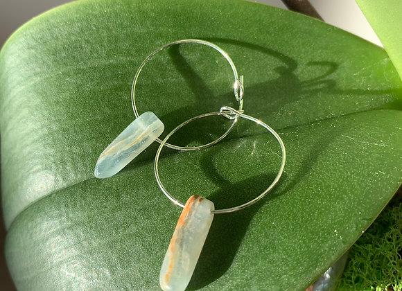 Sky Lace Agate Earrings
