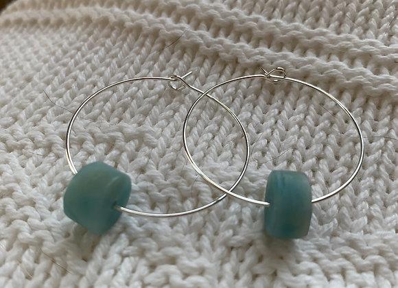 Amazonite Wheel Hoop Earrings
