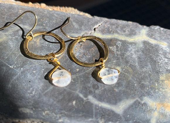 22K Gold Plate + Brass + Quartz Earrings