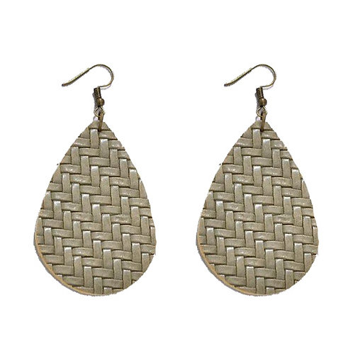 Braided Leather Muted Green Teardrop