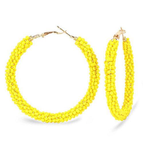Beaded Hoop Yellow