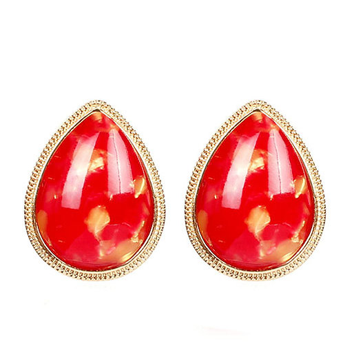 Teardrop Red Gold Plated