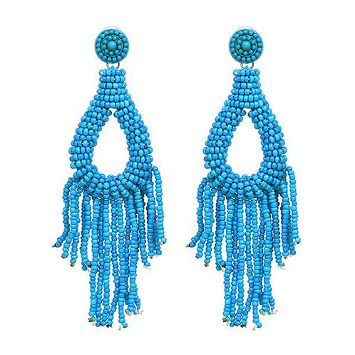 Beaded Tassels Short Blue