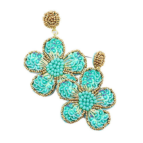 Floral Beaded - Teal