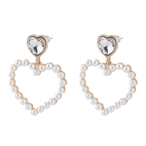 Double Heart Pearl with Clear Gem