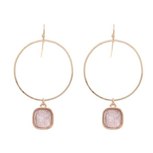 Gold Hoop + Blush Square Stone