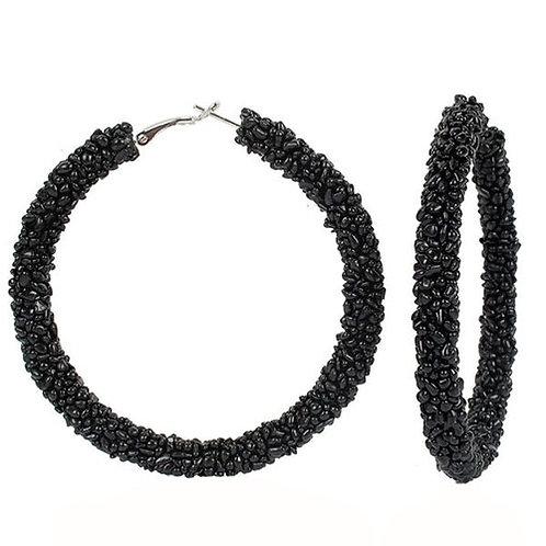 Cobblestone Beaded Hoop Black