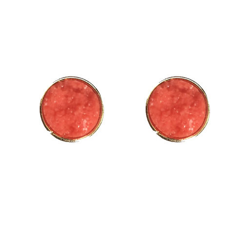 Coral with Gold Round Druzy