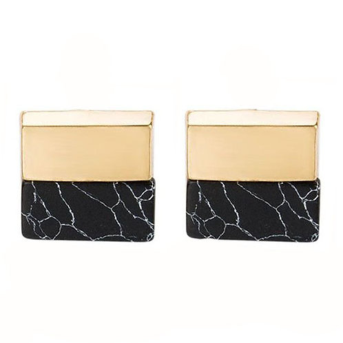 Square Gold Dipped Black Marble Studs