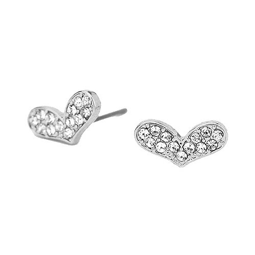 Oblong Silver Heart Studs