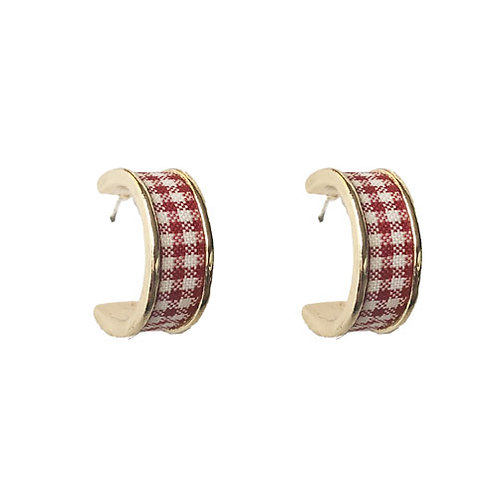 Mini Gingham Red Hoops