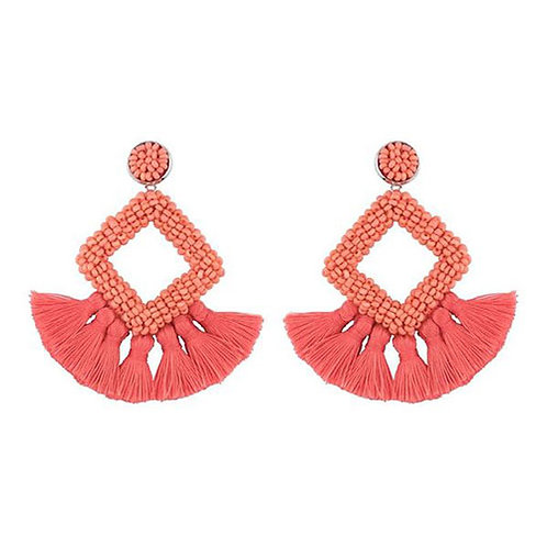 Beaded Square + Coral Fan