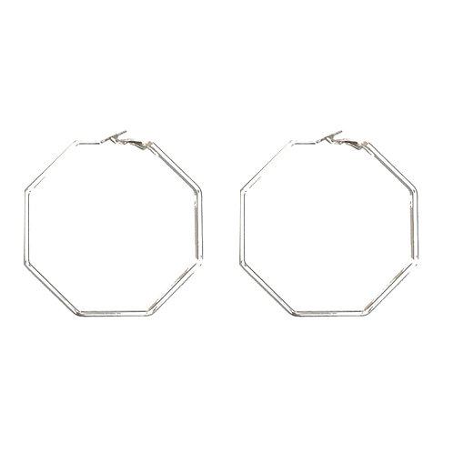 Silver Hexagon Hoops