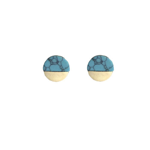 Round Gold Dipped Teal Marble Studs