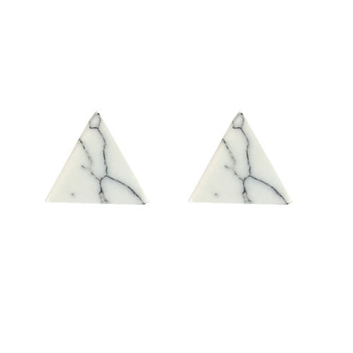 Flat White Marble Triangle Stud