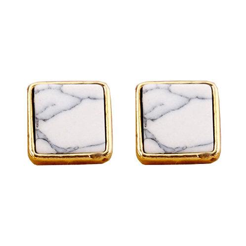 White Square Marble Stud