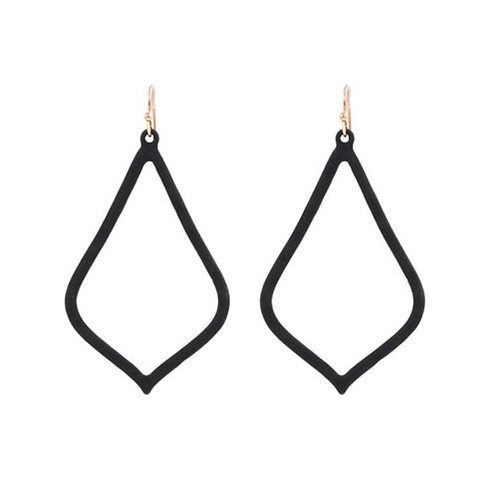 Matte Black Teardrop Earrings