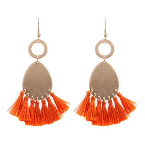 Double Ringed Teardrop Orange Tassels