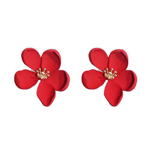 Flower Studs Red