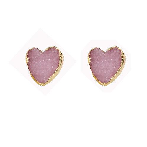 Druzy Pink Heart Studs