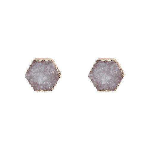 Hexagon Druzy Stone White
