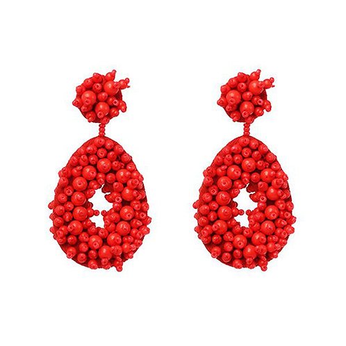 Beaded Oval - Red