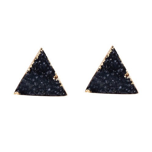 Triangle Black Druzy