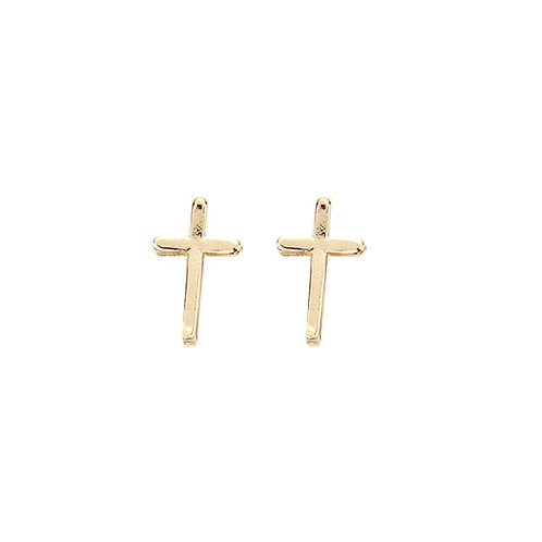 Gold Cross Studs