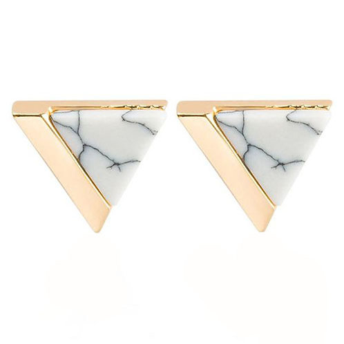 Triangle Gold Dipped White Marble Studs