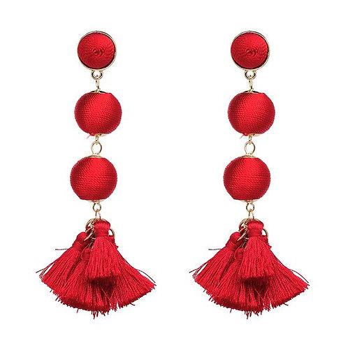 Dangle Ball Tassels Red