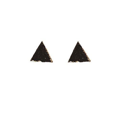 Druzy Black Triangle Stud