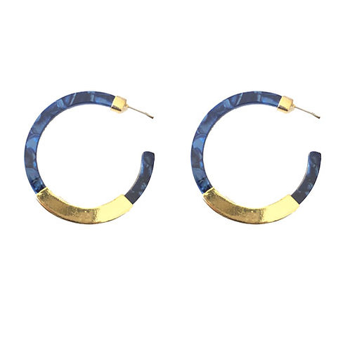 Midnight Blue Hoop with Gold