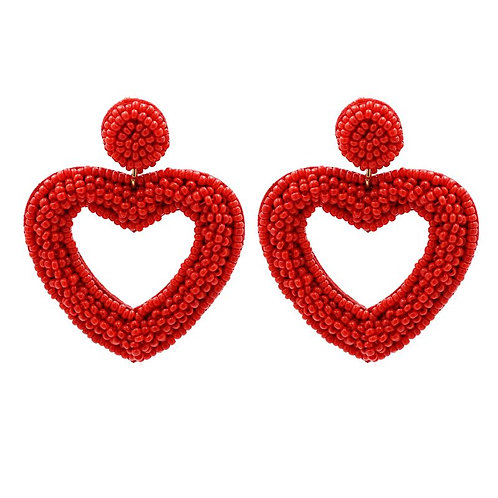 Red Beaded Open Heart