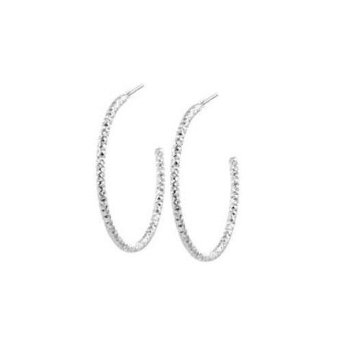 Silver Textured Hoop