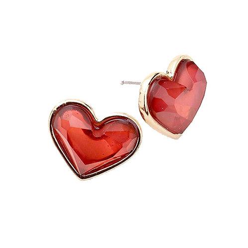 Glass Heart Studs