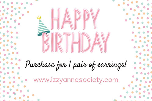 Birthday Gift Card - 1 Pair of Earrings