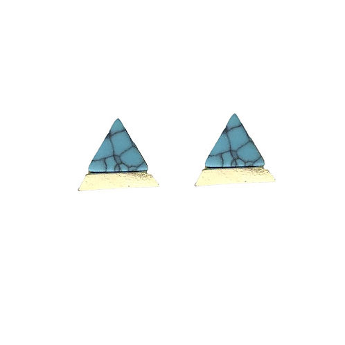 Triangle Gold Dipped Teal Marble Studs