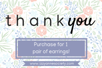 Thank You Gift Card - 1 Pair of Earrings