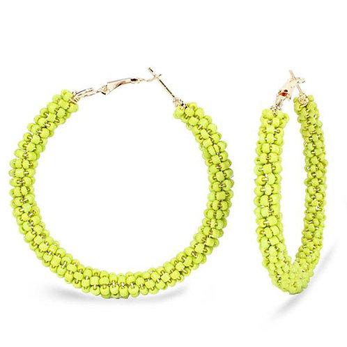 Beaded Hoop Lime Green