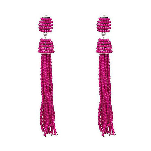Beaded Tassels Hot Pink
