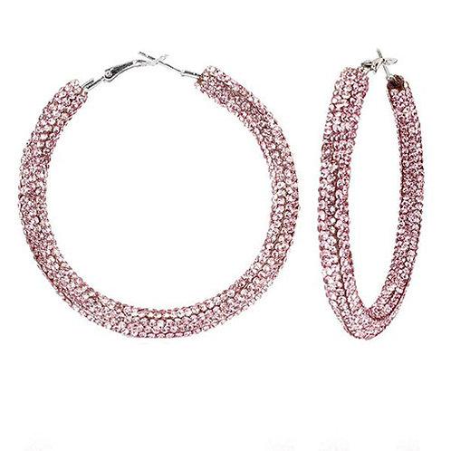 Bronx Pink Sparkle Hoops