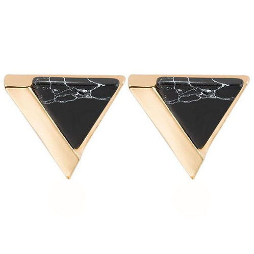 Triangle Gold Dipped Black Marble Studs