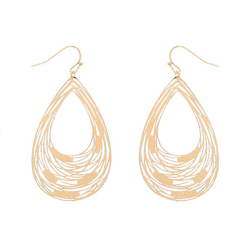 Gold Teardrop with Abstract Lines