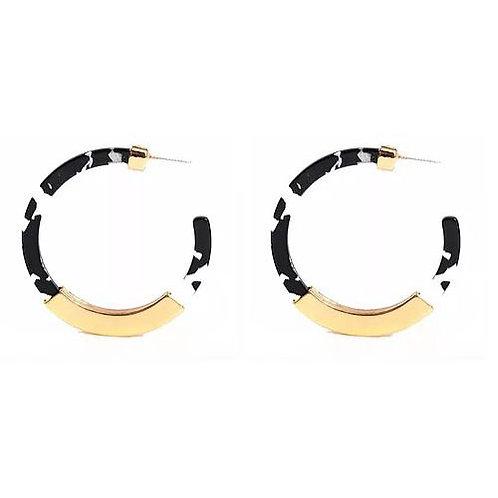 Black + White Gold Bar Hoop