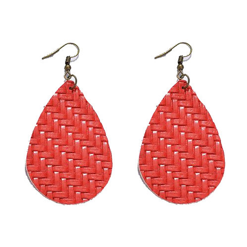 Braided Leather Red Teardrop