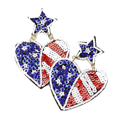 Beaded 4th of July Heart
